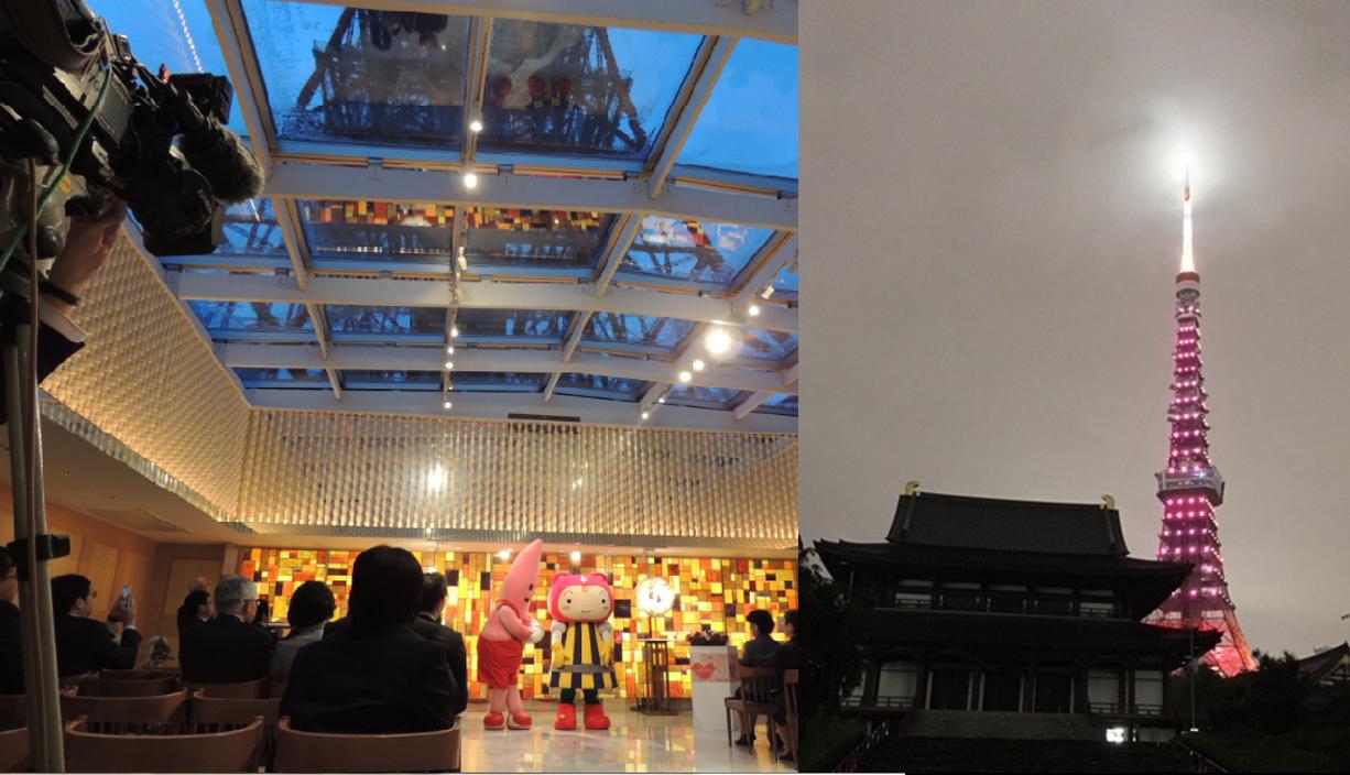 東京タワーを結核レッドに点灯-点灯式を行いました。