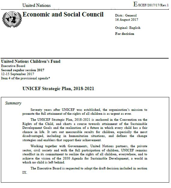 UNICEF Strategic Plan, 2018-2021 本文に「結核」が明記された